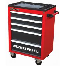 Инструментальная тележка IZELTAS ECO красная с инструментами, 5 ящиков, 8243001096